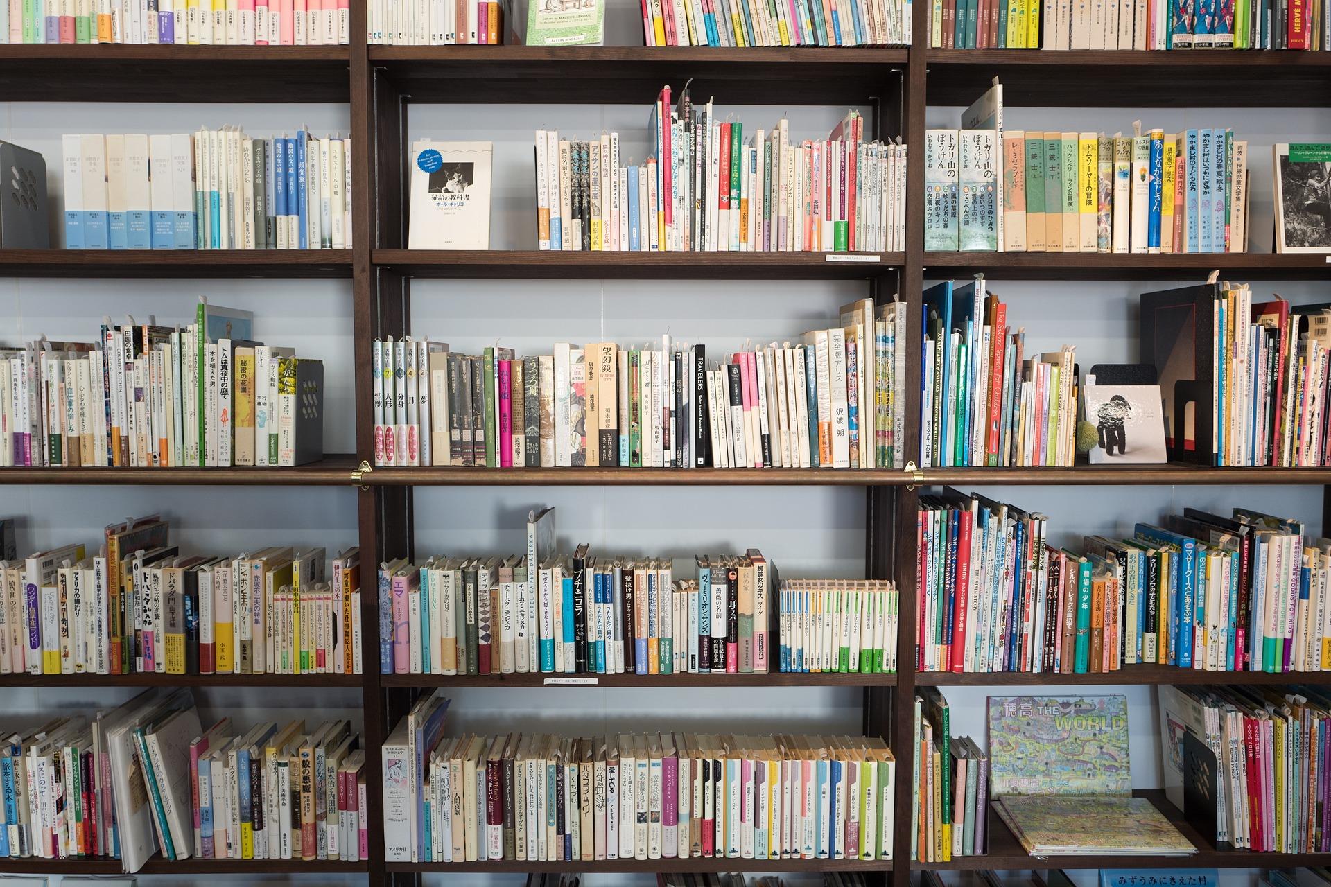 本棚と大量の本の画像