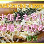 【低糖質レシピ】レンジで4分!「ツナ缶ともやしの味噌マヨ炒め」【動画(有)】