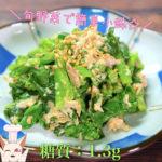 【旬の野菜で簡単小鉢!】「菜の花とツナ缶のからしマヨサラダ」の作り方【低糖質レシピ】